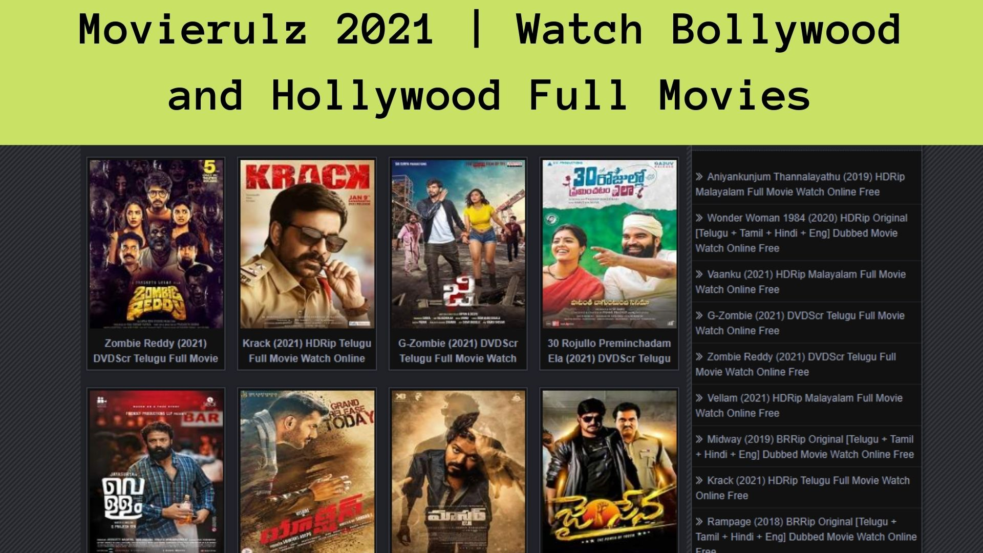 Movierulz 2021 | Watch Bollywood and Hollywood Full Movies
