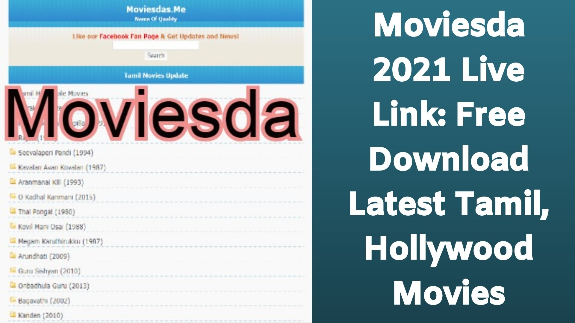 Moviesda 2021 Live Link: Free Download Latest Tamil, Hollywood Movies